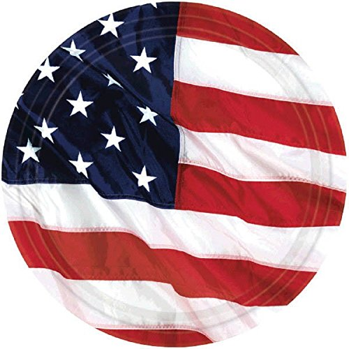 Patriotic Flying Colors - Flying Colors Dessert Plates Patriotic 4th of July Party Disposable Tableware, Paper, Round, 7