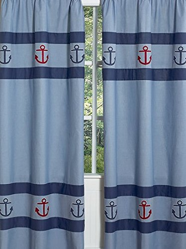 Sweet Jojo Designs 2-Piece Nautical Nights Sailboat Window Treatment Panels