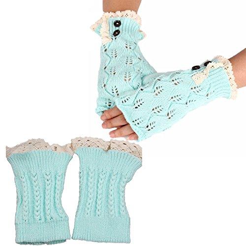 DJHbuy レディース ニット 指なし 手袋 + レッグウォーマー 秋冬 防寒 編み