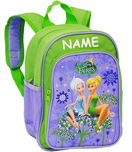 """Kinder Rucksack - """" Disney Fairies - Tinkerbell """" - incl. Name - Tasche - wasserfest & beschichtet - Kinderrucksack / groß Kind - Mädchen - z.B. für Kindergarten / Vorschule / Schule - Schmetterlinge"""
