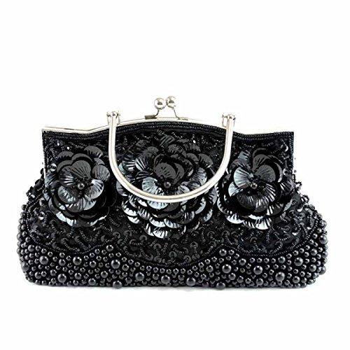 Señoras Clásico Retro Celebración Mencionar Moda Bolso De Noche Novia Vestido Cheongsam Bolsa Bordado Cuentas Black