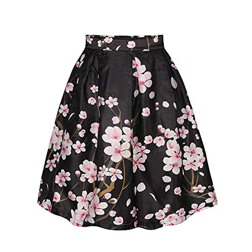 Women's/Big Girls' Flared Pleated Skater Midi Skirt Peach Blossom Knee Length Black Fit For Over 14 Years Old by ABCHIC (Image #2)