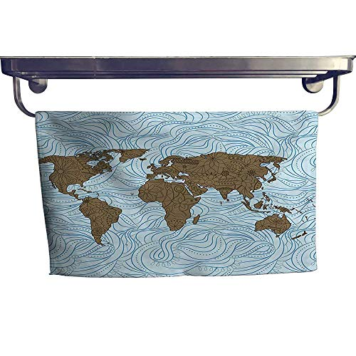 (HoBeauty home Beach Towel,Map with Wavy Ocean Lines and Flower Themed Continent Icons Artful Image Cocoa,Luxury Towels Highly Absorbent Extra Soft W 27.5