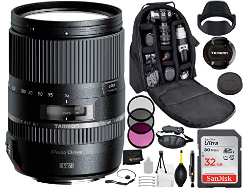 Tamron 16-300mm f/3.5-6.3 Di II VC PZD Macro Lens for Canon with Bundle Package Deal –3 Piece Filter Kit + SanDisk 32gb SD Card + Backpack + More