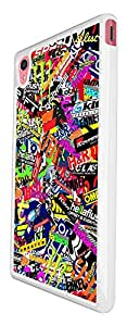 112 - StickerBomb Sticker Bomb Cars Cool Funky Design Design For Sony Xperia M4 Fashion Trend CASE Back COVER Plastic&Thin Metal