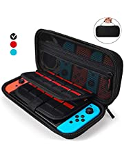 Aukor Carrying Case for Nintendo Switch with 20 Games Cartridge Holders, Protective Hard Shell Travel Carrying Case Pouch for Nintendo Switch Console Accessories, Black