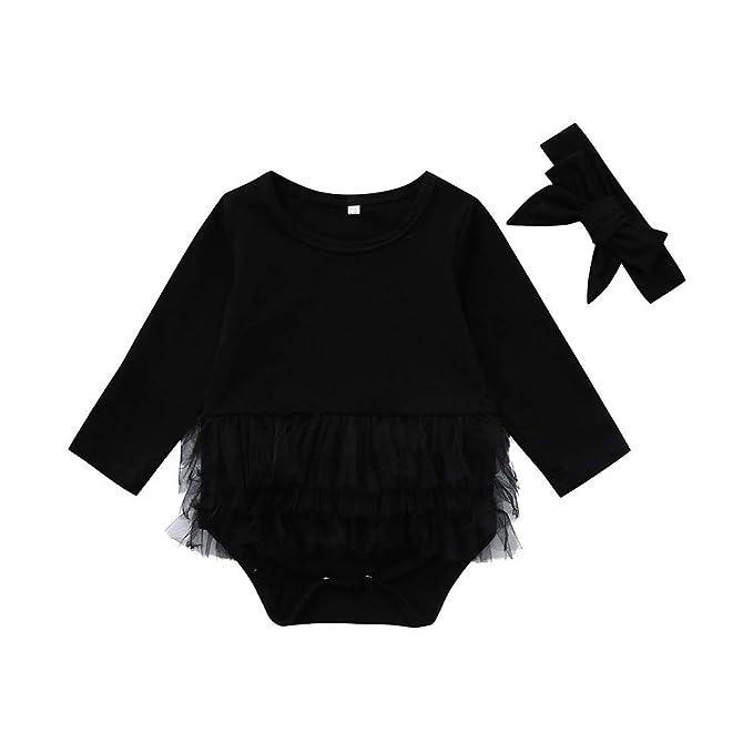 2pcs Infant Baby Girl Newborn Headband+Romper Bodysuit Tutu Clothing Set Outfit