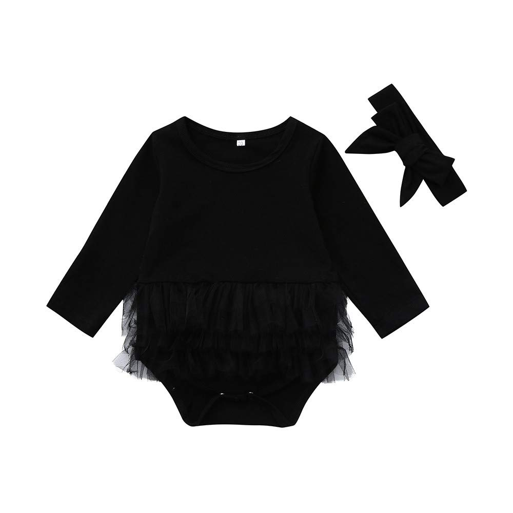 NUWFOR Infant Newborn Baby Girl Tulle Tutu Romper Bodysuit Clothes Headband Outfits Set(Black,18-24 Months by NUWFOR (Image #1)