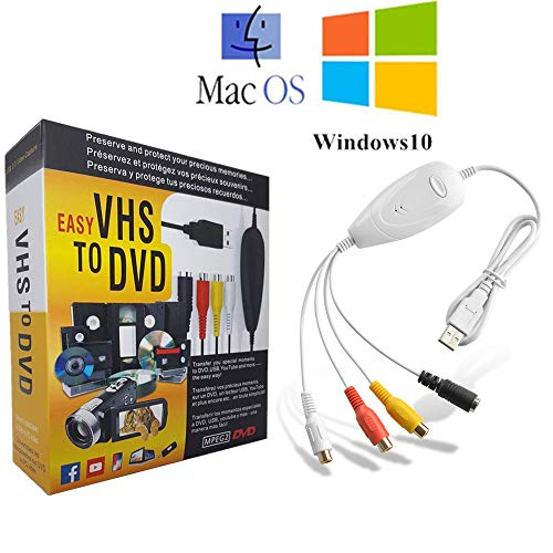 AITOO VHS to Digital Converter -[Upgrade] USB 2.0 Video Audio Capture Recorder Adapter Card V8/Vi8 VHS to DVD Converter TV DVR VCR CCTV Camcorder to PC for Mac &Windows 10/8 -  5302715-2222-1738478281