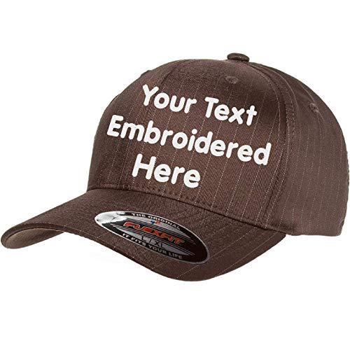 Custom Hat Flexfit 6195P Pinstripe Cap. Embroidered. Your Own Text Curved Bill (Flexfit Pinstripe 6159P L/XL, Brown/White Pinstripe)