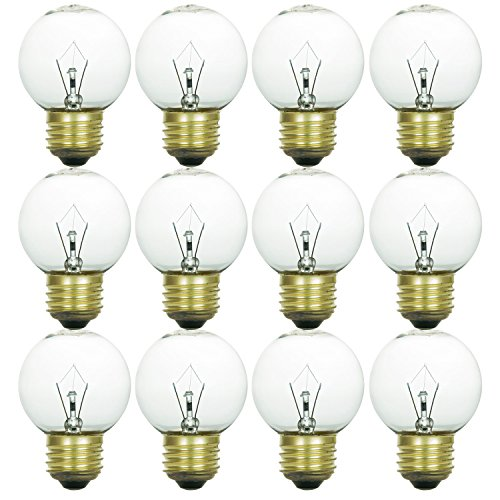 Sunlite 40G16/CL/MED/12PK 40W Incandescent G16 Globe Light Bulb Medium (E26) Base (12 Pack), Crystal Clear - 40w Incandescent Globe
