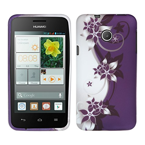 kwmobile TPU SILICONE CASE for Huawei Ascend Y330 Design Yin and Yang flowers white violet - Stylish designer case made of premium soft TPU (Back Huawei Y330 Case)