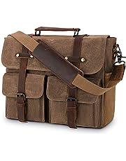 Aktówka męska torba na ramię skóra płótno torba do pracy torba na ramię dla mężczyzn, torba na laptopa 15,6 cala
