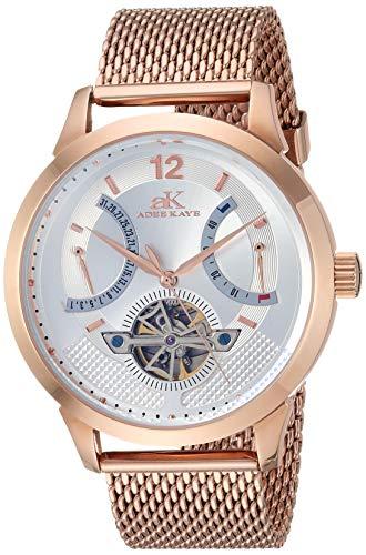Adee Kaye Automatic Watch (Model: AK2241-MRG/SV-Mesh