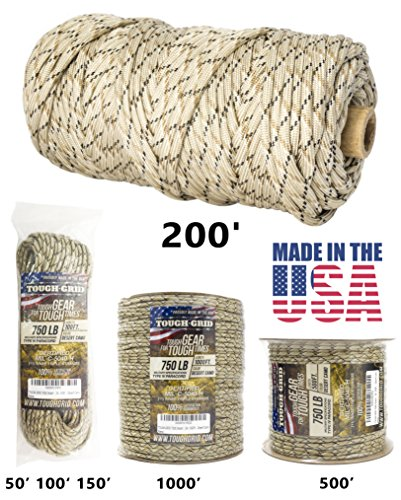 Titan Adjustable Tube (TOUGH-GRID 750lb Desert Camo Paracord / Parachute Cord - Genuine Mil Spec Type IV 750lb Paracord Used by the US Military (MIl-C-5040-H) - 100% Nylon - Made In The USA. 200Ft. - Desert Camo)