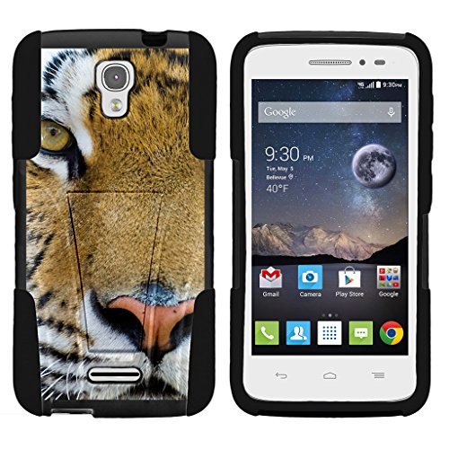 TurtleArmor | Alcatel One Touch POP Astro Case | Pixi Charm Case [Gel Max] Hybrid Dual Layer Case Impact Proof Shock Silicone Cover Hard Kickstand Shell Animal Design - Tiger Stare