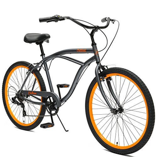 Critical Cycles by Westridge Chatham Men's Seven Speed Beach Cruiser, 18″/One Size, Graphite/Orange Review