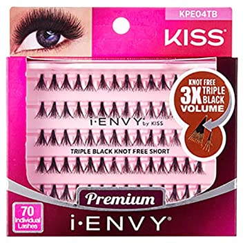 9d4bbe54f30 Amazon.com : i Envy by Kiss 70 Individual False Eyelashes KPE04TB Triple  Black Knot Free Short : Beauty