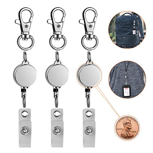 """Retractable Badge Holder 3 Pack, Lightweight Metal ID Badge Clip Reel with 14.5"""" Nylon Cord for Nurse Teacher on Name Card Tag Holder"""