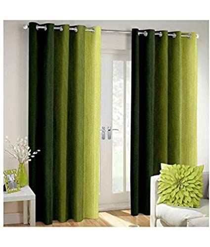 Home Desirica Polyester Blend Super Thick Loom 7x4-ft Door Curtains (Green) - 2 Pieces