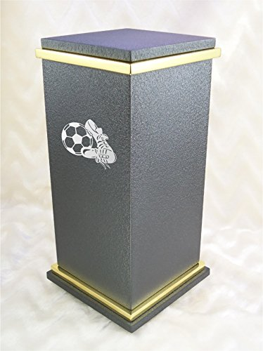 PERSONALIZED Custom Engraved Soccer Cremation Urn Vault by Amaranthine Urns, made in the USA, Eaton RG Polished Gold (up to 200 lbs living weight) (Copper Canyon) by Amaranthine Urn Company