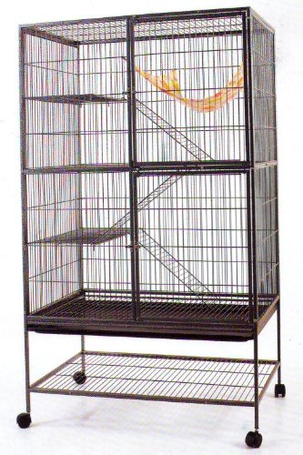 Extra Large With Large Double Front Doors 4 Level Chew Free Feisty Ferret Chinchilla Cat Rats Small Animal Home Wrought Iron Cage With Stand, K718 Black Vein