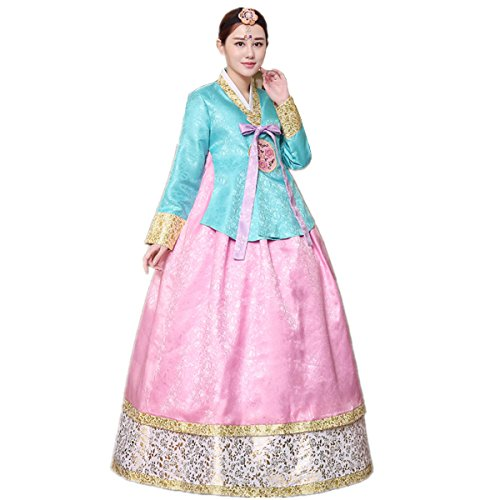Costume Sleeve Set XINFU bluepink Korean Hanbok Women's Classic Embroidery Long Traditional ZtfRq