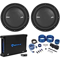 "(2) Polk Audio MM1042SVC 10"" 2400 Watt Car Subwoofers+Mono Amplifier+Amp Kit"