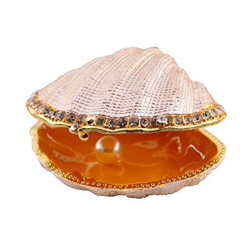 Hophen Clam Sea Shell Bejeweled Pearl Mussel Trinket Enamel Pewter Box 3