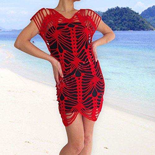 Les Femmes Crocheter Maillot De Bain Bikini Couvrir Maillots De Bain Lacets Robe En Dentelle De Plage Sarong Jaune M Rouge Xl