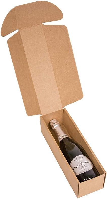 Kartox | Estuche para regalo de 1 botella | Caja de cartón para cava o champagne de color kraft | 4 Unidades: Amazon.es: Oficina y papelería