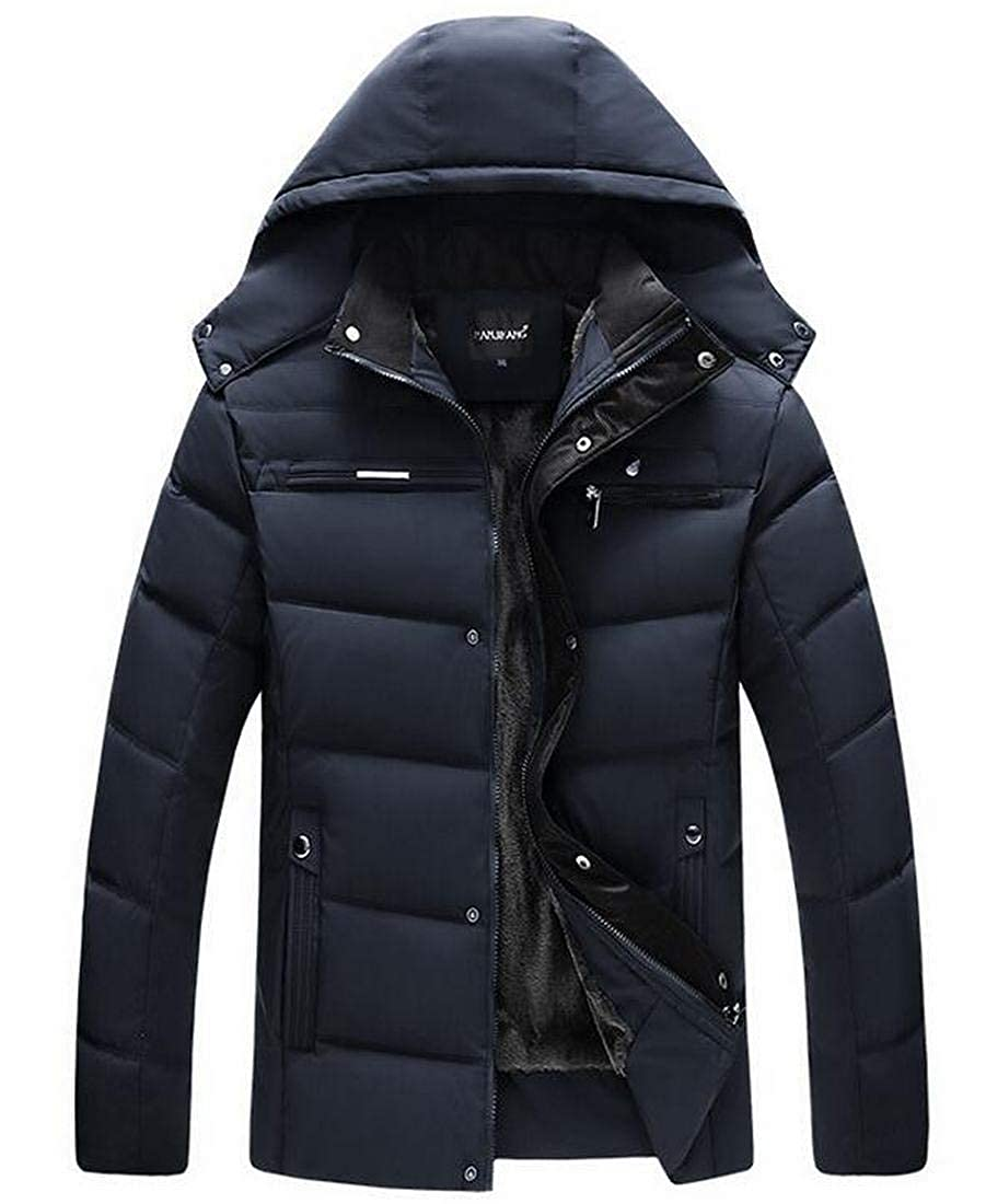 SELX Men Hoodie Outdoor Quilted Thick Fleece Warm Puffer Down Jacket
