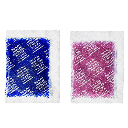 Dry & Dry 20 Gram [30 Packets] Premium Silica Gel Blue Indicating(Blue to Pink) Silica Gel Packs Desiccant Dehumidifier - Rechargeable Silica Packets for Moisture Absorber Silica Gel Packets