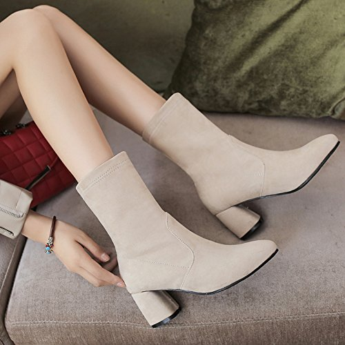 White Boots Chunky Shine Ankle Toe Heel High Women's Point Show Casual wp7zIvqI