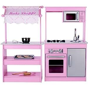 Fao schwarz wooden bake shoppe girls pink for Kitchen set real