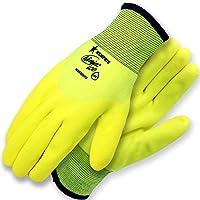Memphis Glove Ninja Ice High Visibility Nylon Liner Double Layer Gloves with HPT Coating,Lemon Yellow