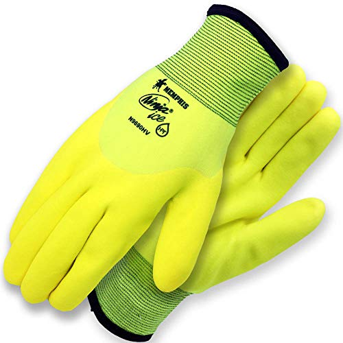 Ninja Ice Hi-Visibility 15 Gauge Nylon Insulated Cold Weather Gloves, Acrylic Terry Inner, 3/4 HPT Coating, Yellow, 1-Pair ()