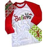 FAYALEQ Women's Believe Christmas T-Shirt Funny Santas Hat 3/4 Sleeve Raglan Shirt Tops Size M (Red)