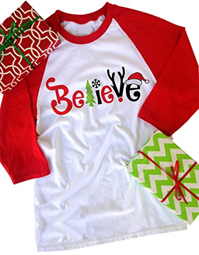 Red Hat Ladies T-shirt (FAYALEQ Women's Believe Christmas T-Shirt Funny Santas Hat 3/4 Sleeve Raglan Shirt Tops Size XL (Red))