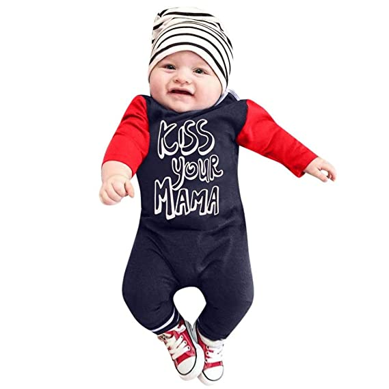 df5c0f18ca4 Staron Baby Boy s Clothes Kiss Your Mom Long Sleeve Romper Jumpsuit Hats  Outfits  Amazon.in  Clothing   Accessories