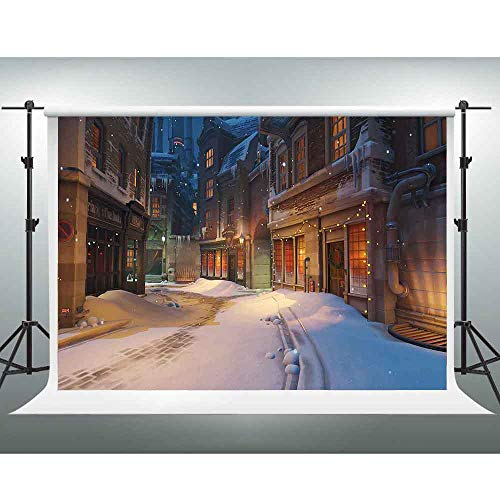 GESEN City Night View Backdrop 7X5ft Vintage Castle Winter Snow Scene Photography Background for Pictures You Tube Backdrops Video Studio Props Room Mural GYGE168 ()
