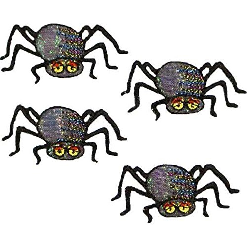 Expo International Halloween Black Spiders Iron-on Applique Trim Embellishment, Multi-Color, 4-Pack -