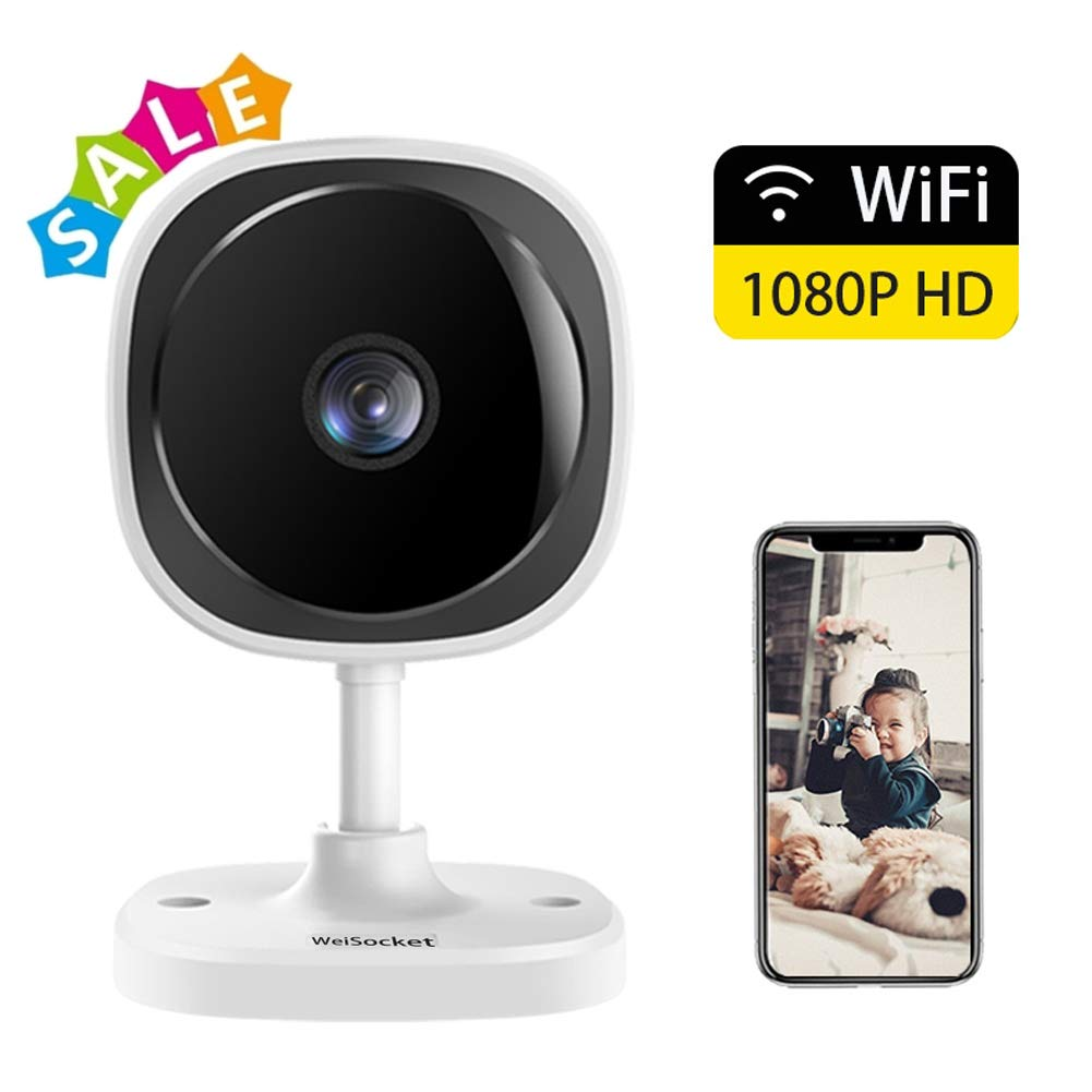 [Full HD] 1080P Wireless IP Camera,WeiSocket 180 Degree Panoramic Security Camera with Motion Detection,Night Vision,Two-Way Audio,Home Security IP Camera for Office/Baby/Nanny/Pet Monitor,1 Pack