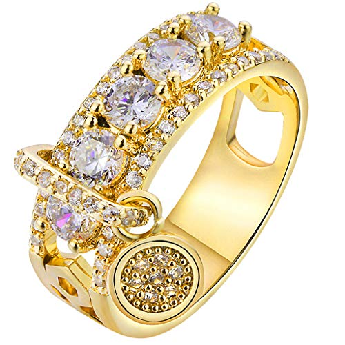 (Women Bridal Fashion Crystal Rhinestone Hollow Out Ring Wedding Engagement Anniversary Bands Jewelry Gift (Gold, 9))