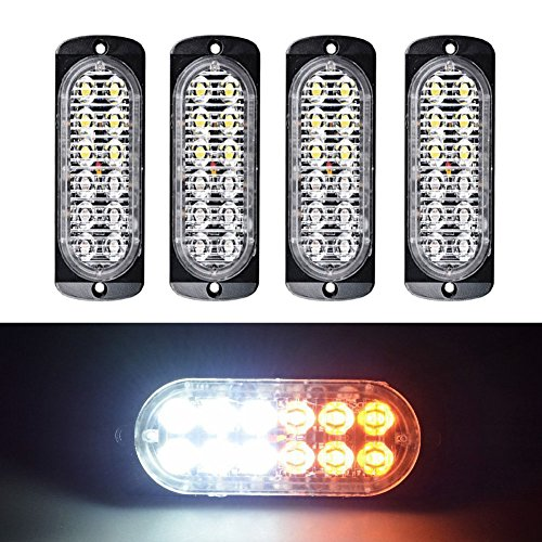 XT AUTO Super Bright Amber White 12-LED Car Truck Warning Caution Emergency Construction Waterproof Beacon Flash Caution Strobe Light Bar 4-pack