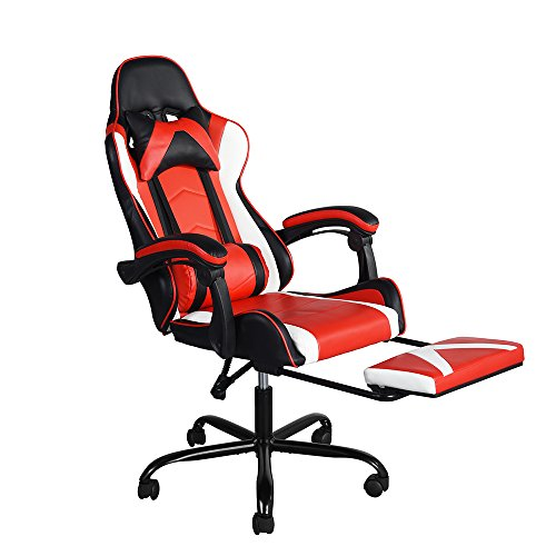 GreenForest Gaming Chair for Adults with Footrest, Computer Chair Lumbar Support, Ergonomic Game Chair High Back, Recliner Office Chair, Red