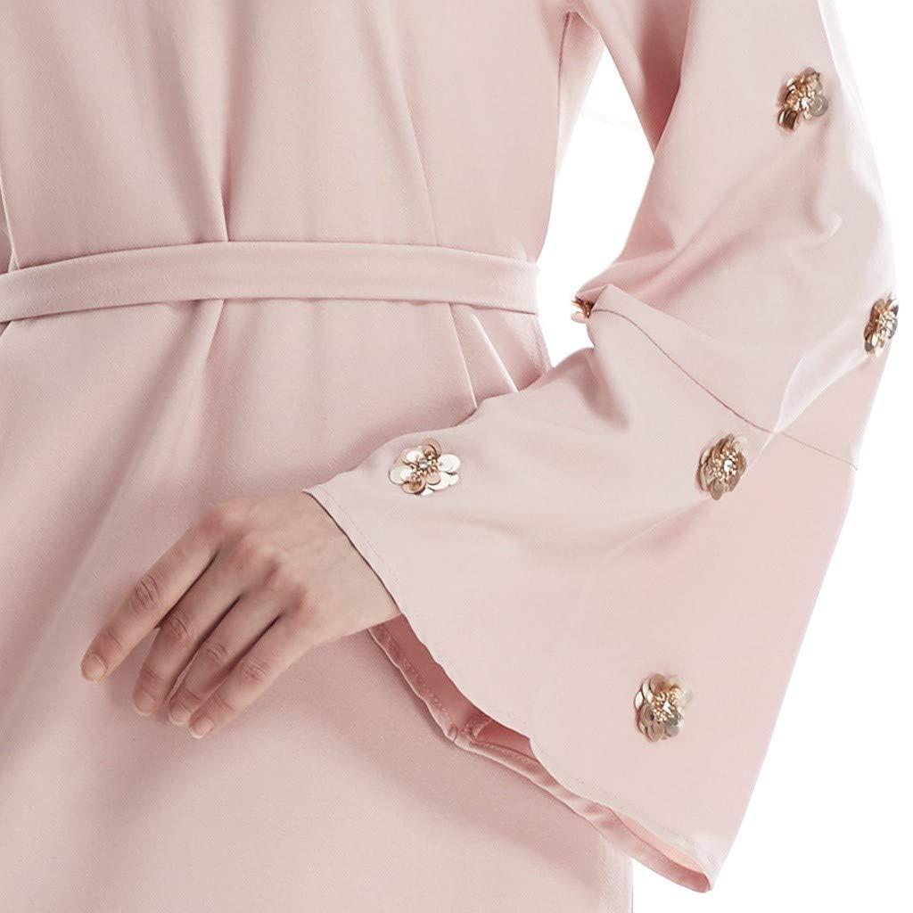 NPRADLA Large Falda Elegante musulmán Abaya Vestido Cardigan ...