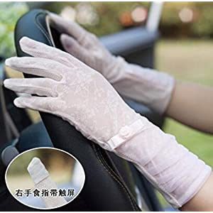 HOMEE Summer Women'S Cycling Anti-Skid Sunscreen Gloves Short Lengthened Lace Ice Silk Uv Thin Touch-Screen Gloves,G,Twenty four