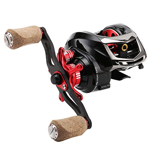 SeaKnight ELF II Baitcasting Reel- 6oz Super Light, C45 Carbon Fiber Frame, Dual Magnetic and Centrifugal Brake System, 6.4:1/7.2:1 Tournament Fishing Reel