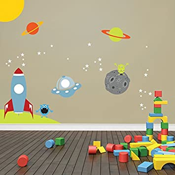 Space Wall Decal, Rocket Ship, Alien, Planet, Stars, Children Wall Decal